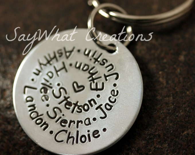 Hand Stamped Swirl Key Chain - Perfect for Mothers or Grandmothers with LOTS of Names