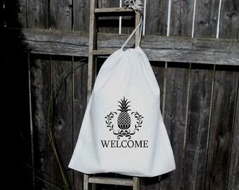 8 -10x12 Drawstring Bags- Wedding Favor-Party Favor - Premium -Muslin Bag -Pineapple Welcome