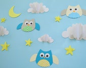 Owls and Clouds 3D Wall Decals, Owl Wall Art, Wall Decor, Owl Nursery Wall Art