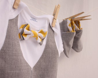 Baby boy Easter shirt, Easter bow tie shirt, Baby boy photo prop, yellow and gray baby boy shirt