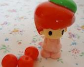 Super Cute Apple Koedachan Figure and Three apples.80s