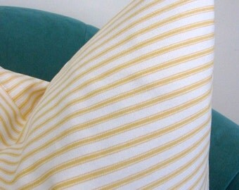 decorator fabric, yellow and off white woven cotton ticking 1 yard