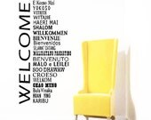Welcome Wall Decal words in international languages,Home Decor, Office and School Wall Decor, World Global Greetings,Library welcome decal
