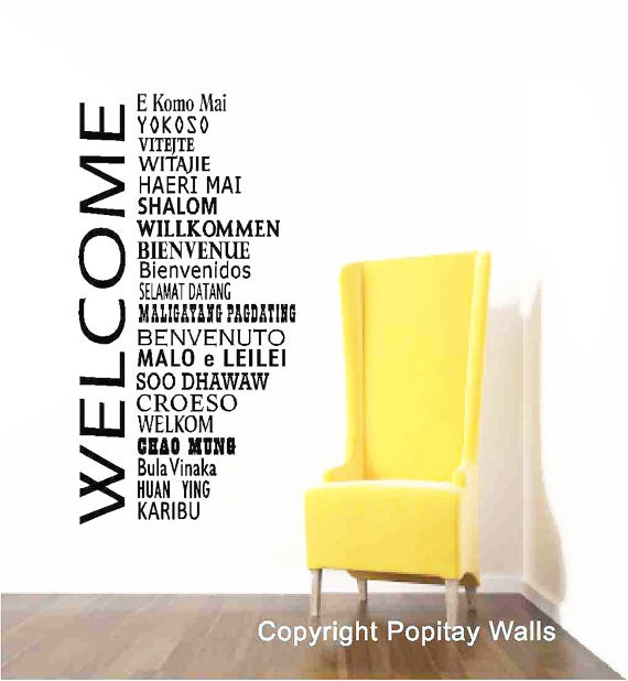 Ideas For Wall Decor In Office : Welcome wall decal words in international languageshome by