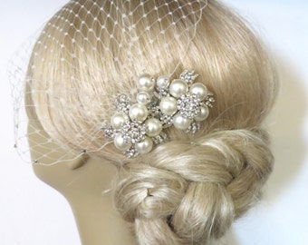 Bridal Pearls Hair Comb and a Birdcage Veil 2 Items,bridal veil, Bridal Headpiece Blusher Bird Cage Veil accessories Wedding comb rhinestone