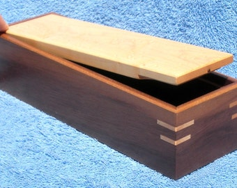 Walnut and Birdseye Maple Tilt Top Pencil Box