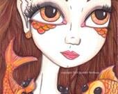 koi Mermaid artwork, big eyed girl, 5 x 7 print, sea creatures, siren, black and orange, sea sprite, goldfish