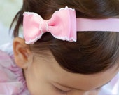 Baby Bow, Set of 4, Moonstitch Bow Tie Bow, ANY Color You Choose, Baby Headband, Infant Headband, Boutique Bow,