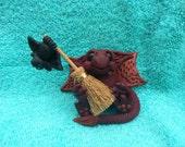 Small Dragon Has Found a Pet Bat Ooak Sculpture Fantasy Fae Fairy