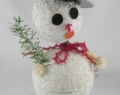West Germany Snowman Nodder Candy Container Christmas Paper Mache German VTG
