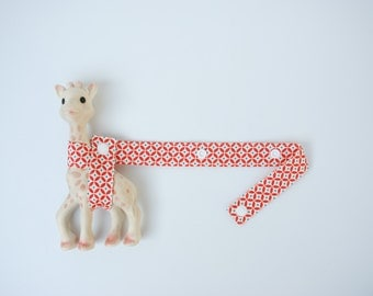 Toy Strap - Red Blue and Cream with cream snaps