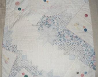 Vintage Patchwork Quilt Table Runner Mat - Dresser Scarf  21 x 20