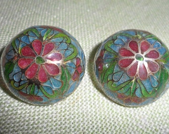 """Vintage Large Chinese Plique A Jour Stained Glass Cloisonne Pierced 1""""  Earrings"""