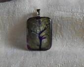 Green purple tree pendant