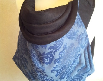 MEI TAI Baby Carrier / Sling / Reversible/ Blue Royal Flower with Black in straight cut model