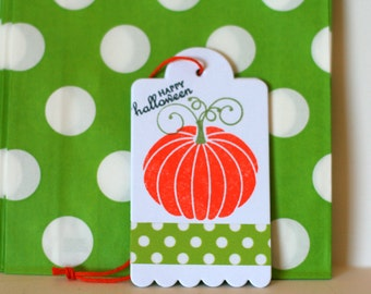 Halloween treat bags, Halloween candy bags, Halloween bag and tags, Halloween popcorn bags, green candy bags, Halloween tags, Pumpking tags