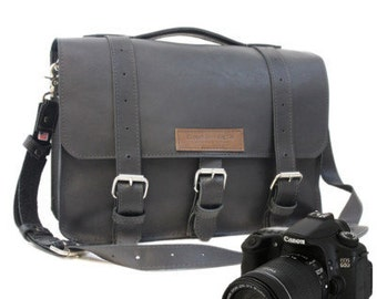 "15"" Black Sonoma Buckhorn Leather Camera Bag"