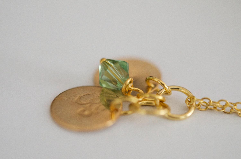 Peridot pendant august birthstone jewelry initial charm by ahkriti