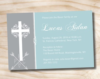 ELEGANT BAPTISM Custom Baptism Invitation / Christening Invitation / Communion Invitation - Printable digital file or printed invitations
