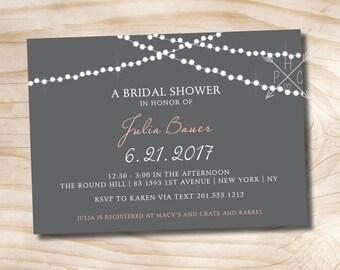 STRING OF LIGHTS Couples Shower Bridal Shower Baby Shower Invitation - Printable digital file or printed invitations