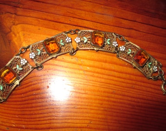 Splendid CZECH Art Deco Amber Art Glass and ENAMEL & FILIGREE Brass Vintage Link Bracelet - Most Probably By Neiger - 1920's/1930's