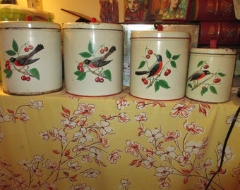 Wonderfully Retro MAID of HONOR Lithographed Vintage Tin CANISTERS: Set With Lids - Red Breasted Robins & Cherries - Rare