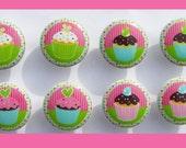 8  SWEET CUPCAKE  pink green with polka dot border kids girls  Dresser Drawer Knob