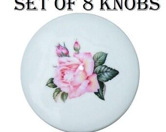 8 Sweet  Pink ROSE BUD girls kids adult Dresser Drawer Knobs