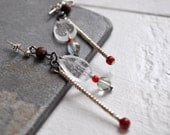 Crystal earrings-Red earr...