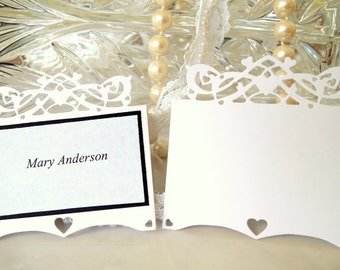 100 Blank Wedding Place Cards Hearts Placecards Hearts Place Cards  Elegant Wedding Place Cards Custom Place Cards Anniversary Place Card