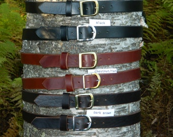"Handmade Thick Leather Belt Men's Women's 1 1/4"" 1.25 inch wide Black Brown Chestnut cut to your size"