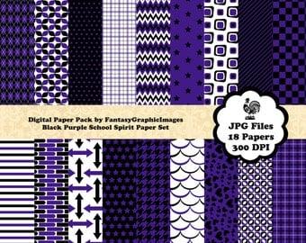 School Sports Team Spirit Digital Paper Pack - Black Purple - 18 Papers - School Team Colors - Scrapbooking - Instant Download