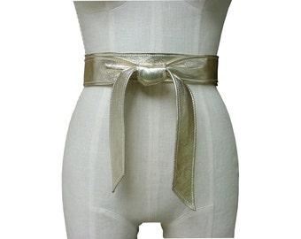 Leather Wrap Belt - Gold - Leather Obi - Narrow belt - Leather Tie Belt - Gold Bow Belt - Wrapping Belt leather - Soft leather belt - Coat