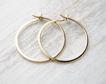 Classic Yellow Gold Hoops, Hammered Wire Hoops, Tiny Hoop Earrings, Gold Plated Wire, Modern Jewelry, Gift, EAR003