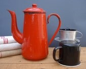 SALE SALE Vintage french red enamel coffee pot with enamel mug
