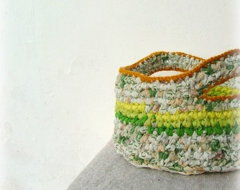 Large baby gift basket magical yellow-green upcycled crochet organizer