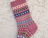 Christmas stocking hand knit in rose pink with FREE U.S. SHIPPING vibrant colors and patterns