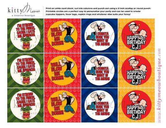 Popeye the Sailor Man Printable Party Circles