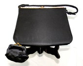 Vintage Potiswa Black Structured Evening Purse with Gold Metal Frame - Mid Century