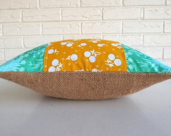 Teal and Mustard Boho Pillow Cover - Shabby Chic Throw Pillow - Burlap and Cotton Floral