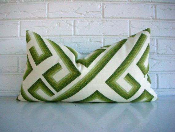 Olive Green Geometric Throw Pillow Cover - Mid Century Modern Decor