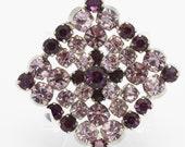 Purple and Light Lavender Diamond Shape Vintage Brooch