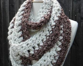 Crochet Pattern Infinity Scarf REVERSIBLE Cowl Neckwarmer Circle Scarf