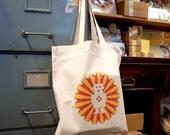 Bright Stem 100% Cotton Tote Bag, Robot Print, Eco-friendly Re-Usable