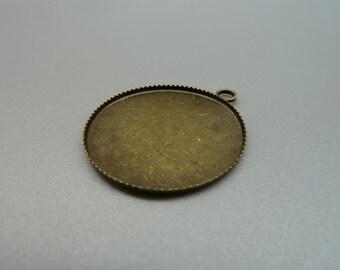 10pcs 26mm-25mm Antique Bronze Brass Round Cameo Cabochon Base Setting Pendants Charm Pendant d138
