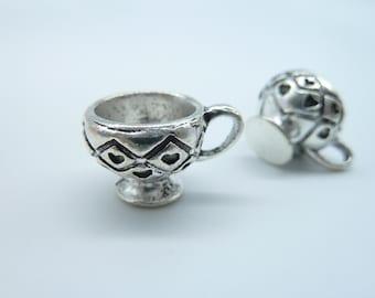 6pcs 15x20x13mm Antique Silver 3D Cup Charm Pendant c2566