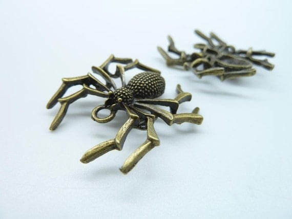 6pcs 32x35mm Antique Bronze Spider Insects Charm Pendant C2411