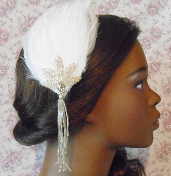 Glam Beaded Cream White Feather Hair Clip- Gatsby Wedding