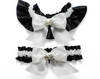 Wedding garters - bridal garters - black and white garters and motorcycles - biker chick garters - motorcycle bike garter - black garter set