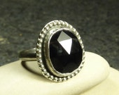 Rose Cut Black Onyx and oxidized Sterling Silver Ring